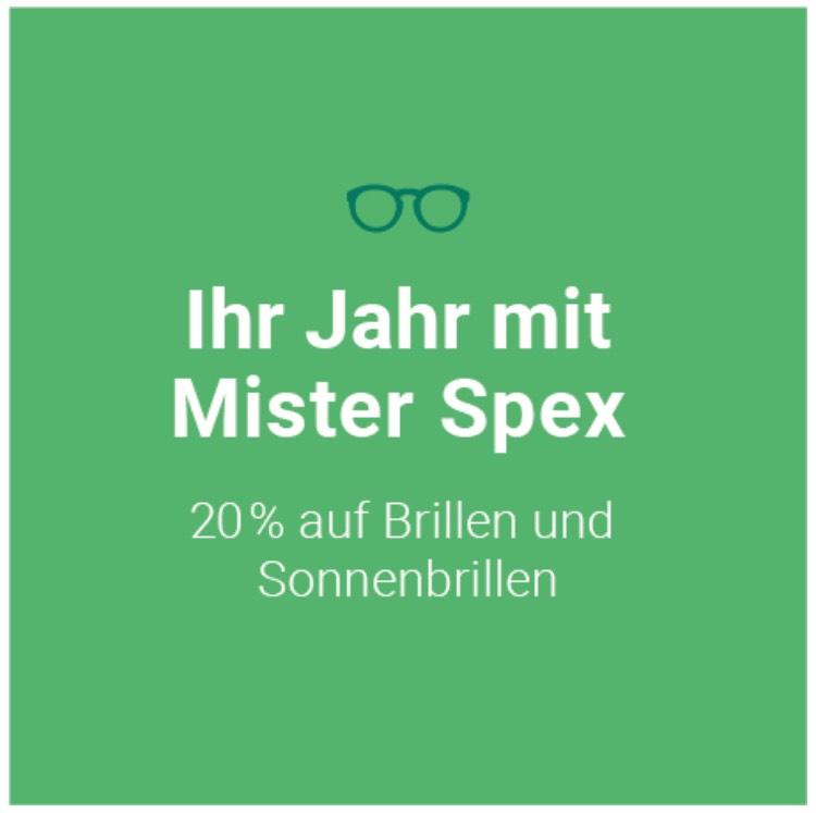 [Mister Spex] 20 % Rabatt auf alle Brillen und Sonnenbrillen