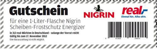 1 Liter Nigrin Energizer Scheiben-Frostschutz  GRATIS!!!   (Markenprodukt)