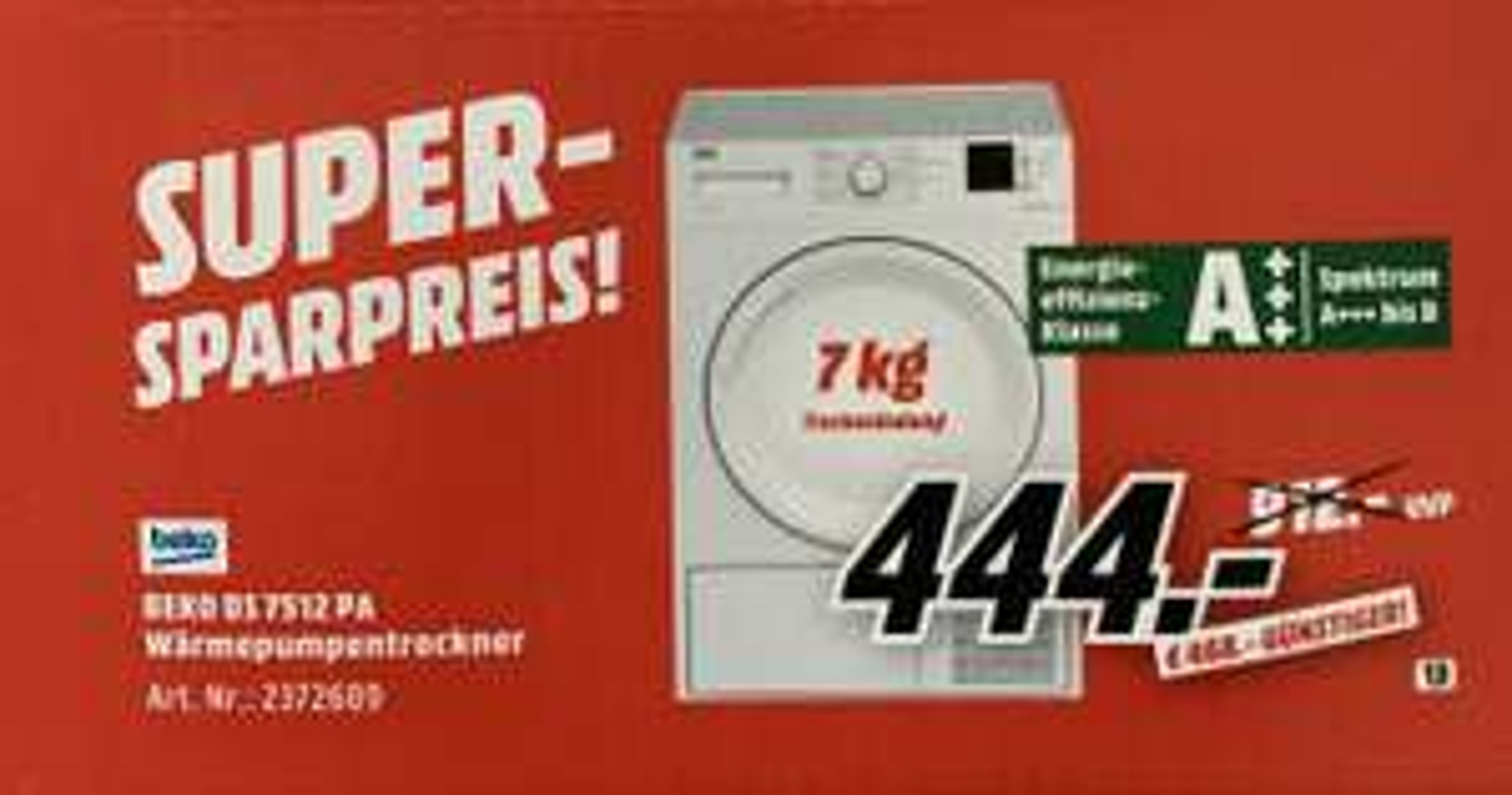 [Mediamarkt] BEKO DS 7512 PA A+++ Wärmepumpentrockner für 444,- ab dem 1.1.19