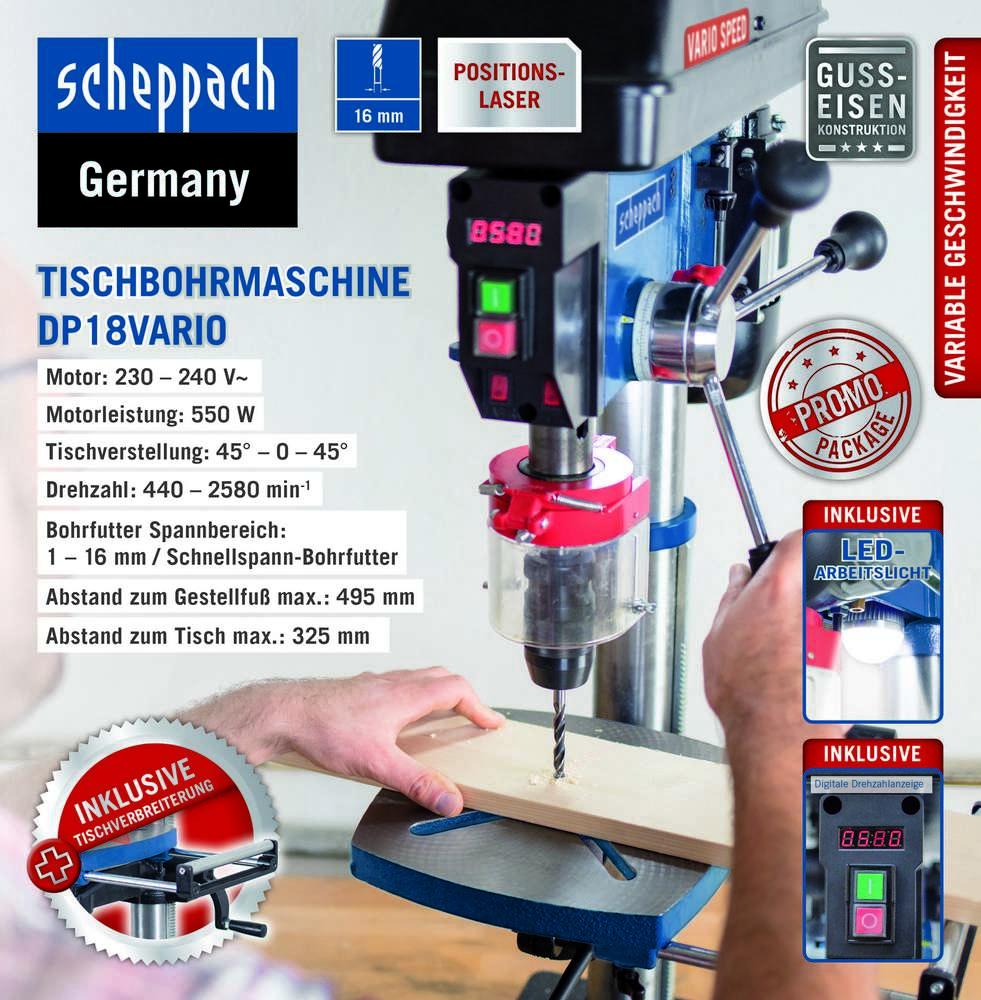 25% Rabatt auf ausgewählte Artikel bei Norma24 - z. B. Scheppach Säulenbohrmaschine DP18VARIO für 214,20€ [Norma24]
