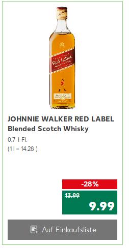[Kaufland] Johnnie Walker Red Label 0,7l + Johnnie Walker Black Label 0,05l Probe 9,99€, BOMBAY SAPPHIRE 16,99€, Captain Morgan 8,88€