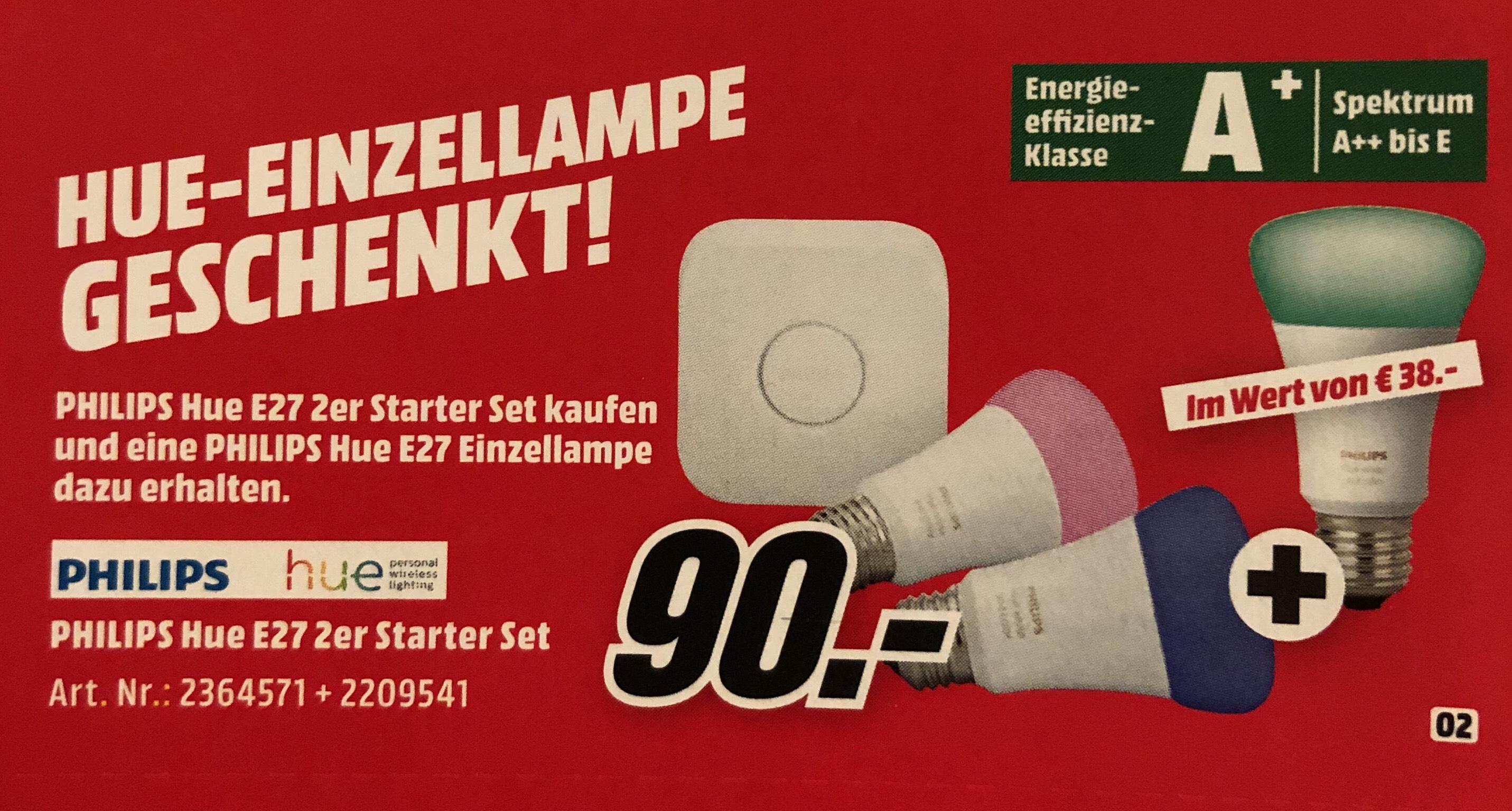 Philips Hue E27 2er Starterset + Philips Hue E27 Einzellampe