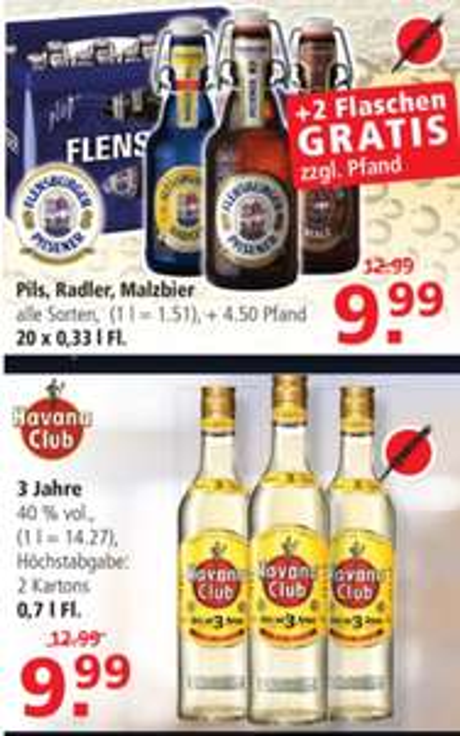 [Lokal Leer Emden] Flens Kiste Flensburger + 2 Flaschen gratis oder 0,7 Havanna Club Rum