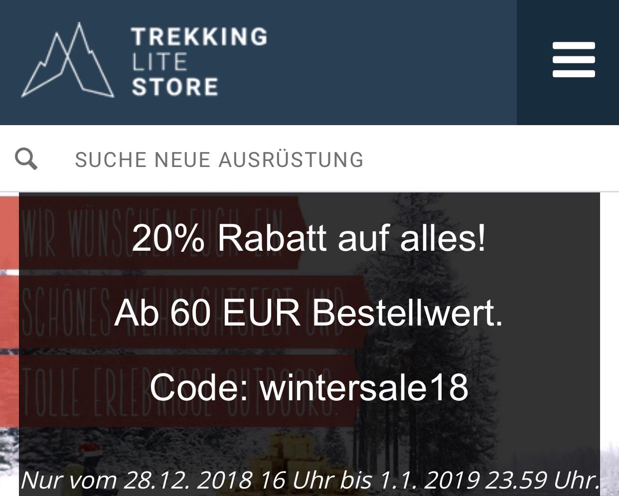 20% Rabatt im Trekking-Lite-Store.com MBW60€