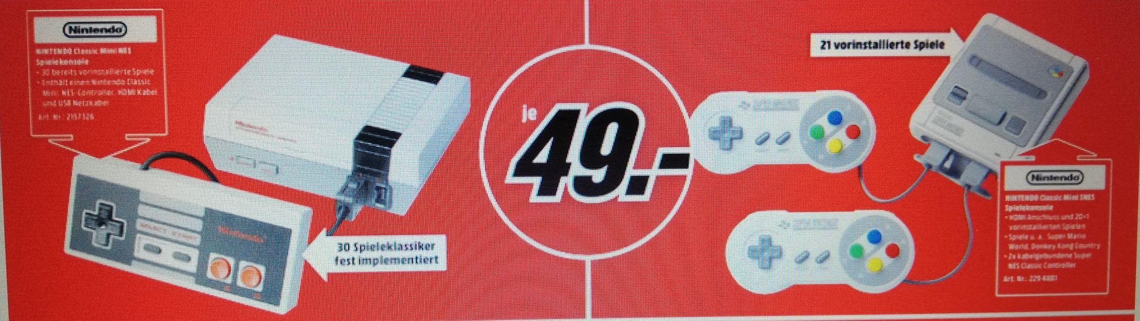 Nintendo Classic Mini SNES & Nintendo Classic Mini NES für je 49€ (Lokal Mediamarkt Neunkirchen)