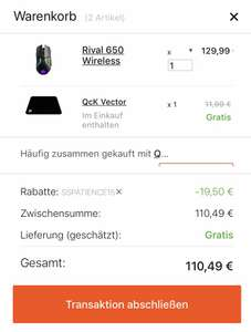 Steelseries 15% auf alles + free mouse pad z.B.Rival 650 110,49€ Lieferung nach 08/01/19