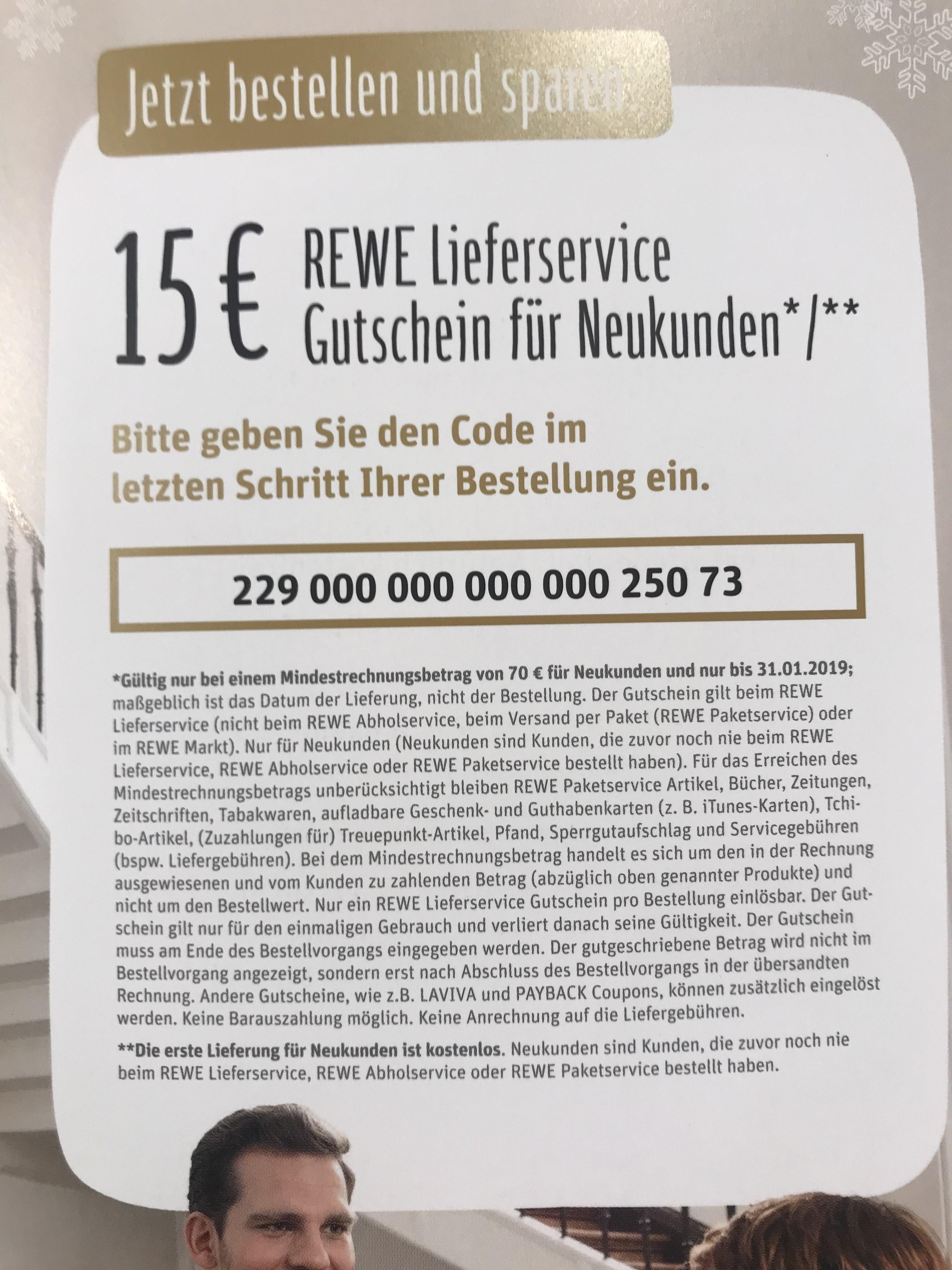 [REWE Lieferservice] 15€ Gutschein für Neukunden