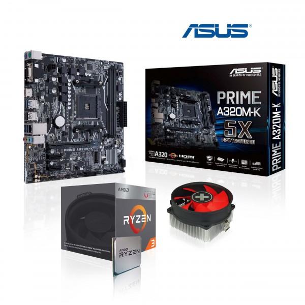 AMD Ryzen 3 2200G 4x 3.5 GHz + ASUS PRIME A320M-K (mATX) Mainboard Aufrüst-Kit