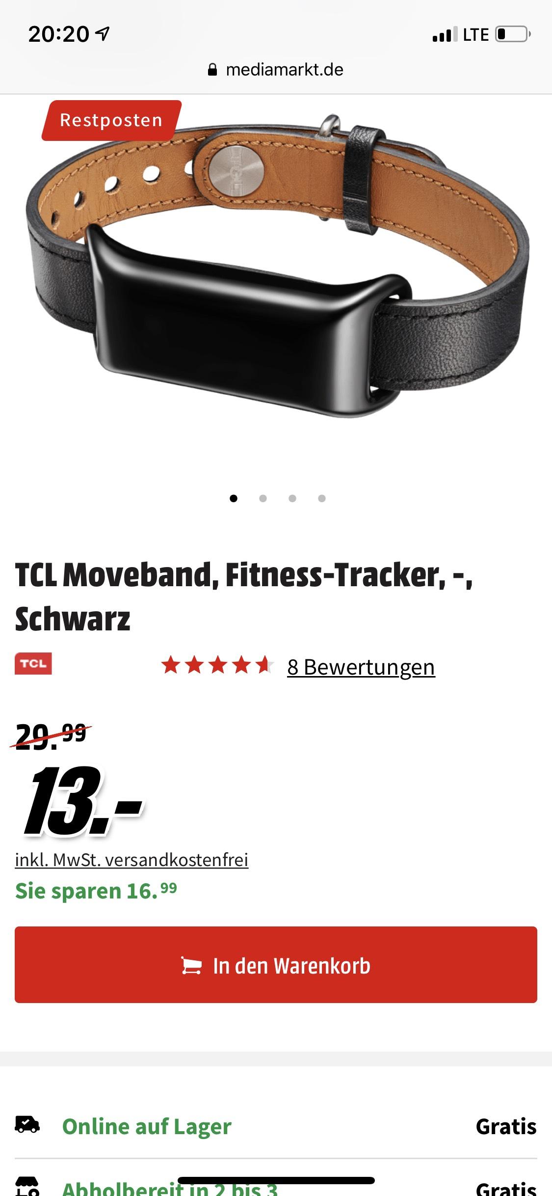 TCL Moveband, Fitness-Tracker, -, Schwarz
