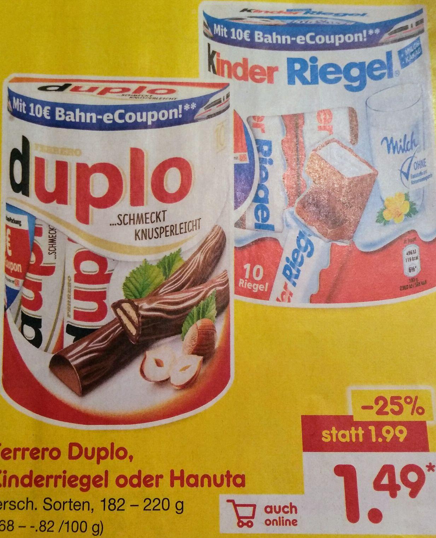 [Netto MD/Edeka/Hit] Ferrero Duplo/Kinderriegel 10er Packung für 1,49€+ DB Coupon