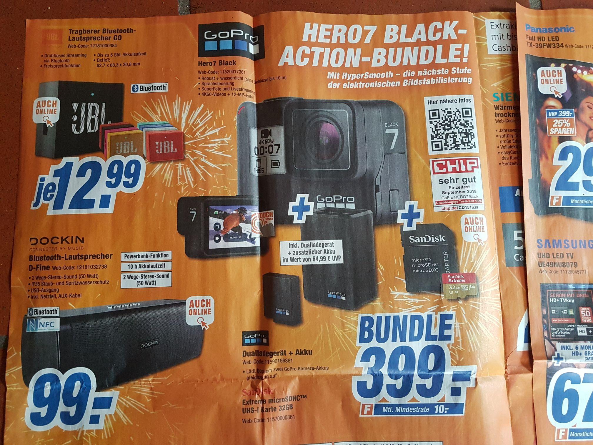 [Expert online + Ellwangen] GoPro Hero 7 Black + 2.Akku, dualladestation+32GB SDkarte