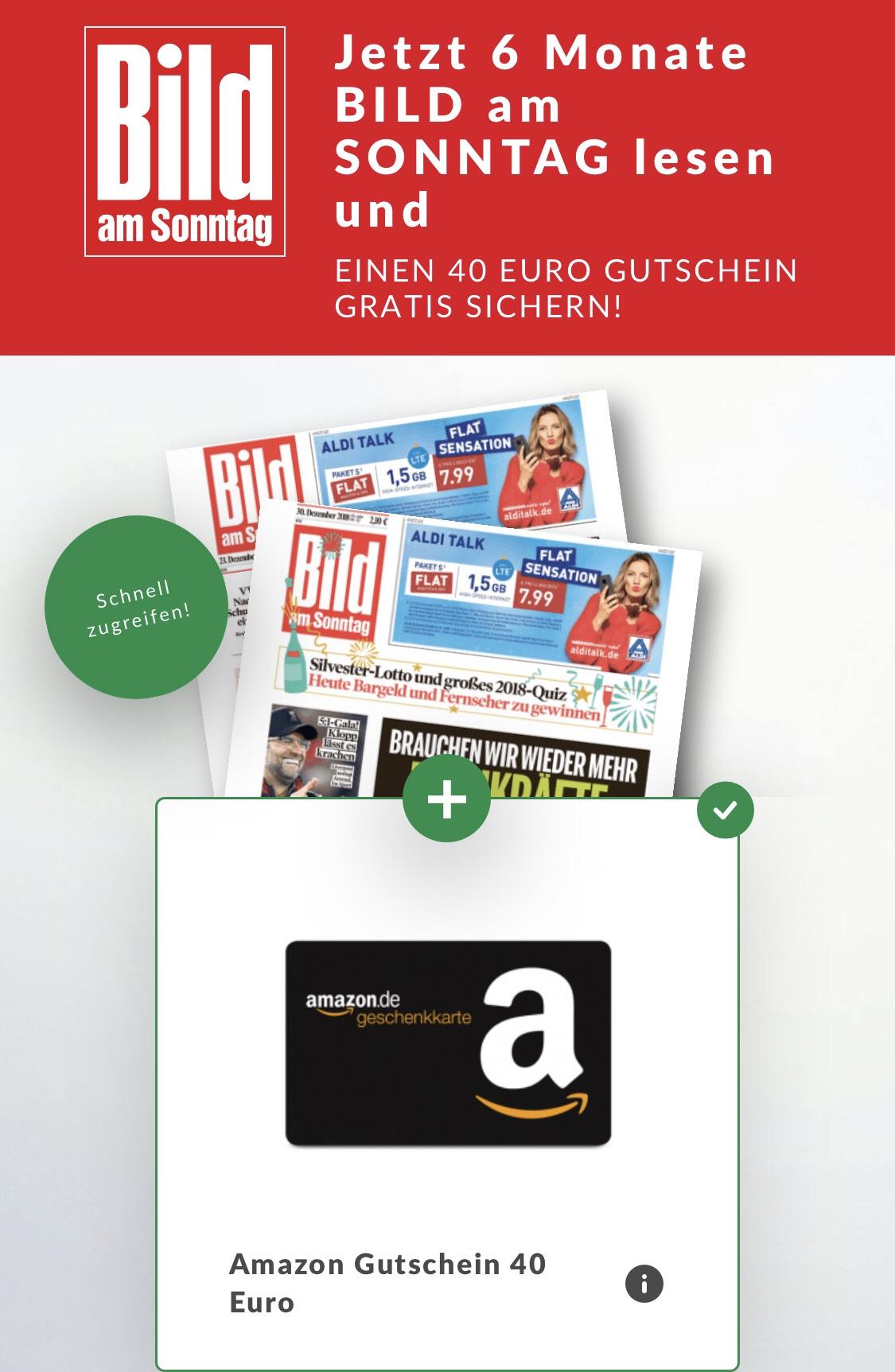6 Monate BAMS Bild am Sonntag mit 40€ Amazon Gutschein