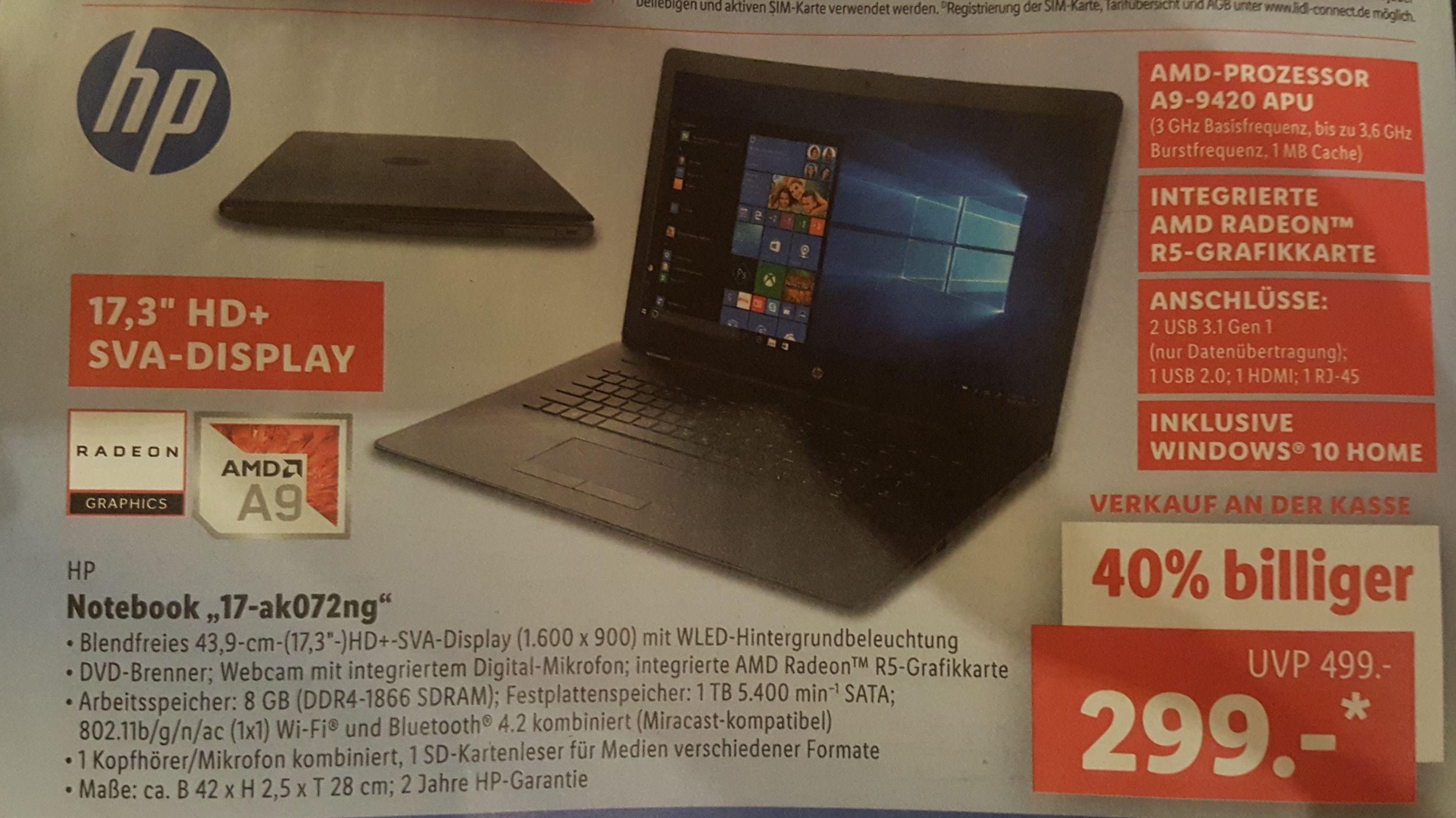 17,3 Zoll Notebook HP 17-ak072ng