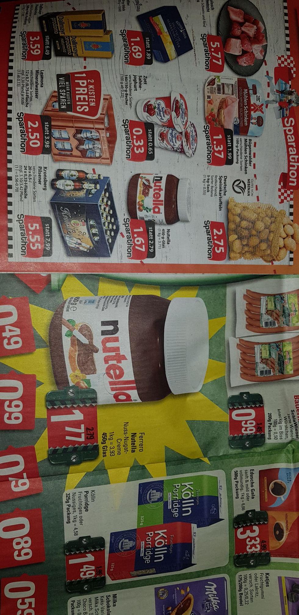 Nutella bei Famila Nordwest für 1.67€ Marktkauf 1.77