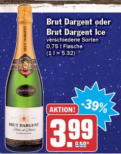 Brut Dargent Sekt oder Brut Dargent Ice für 3,99€ (+0,40€ über Scondoo)  *ab 31.12.* [HIT]