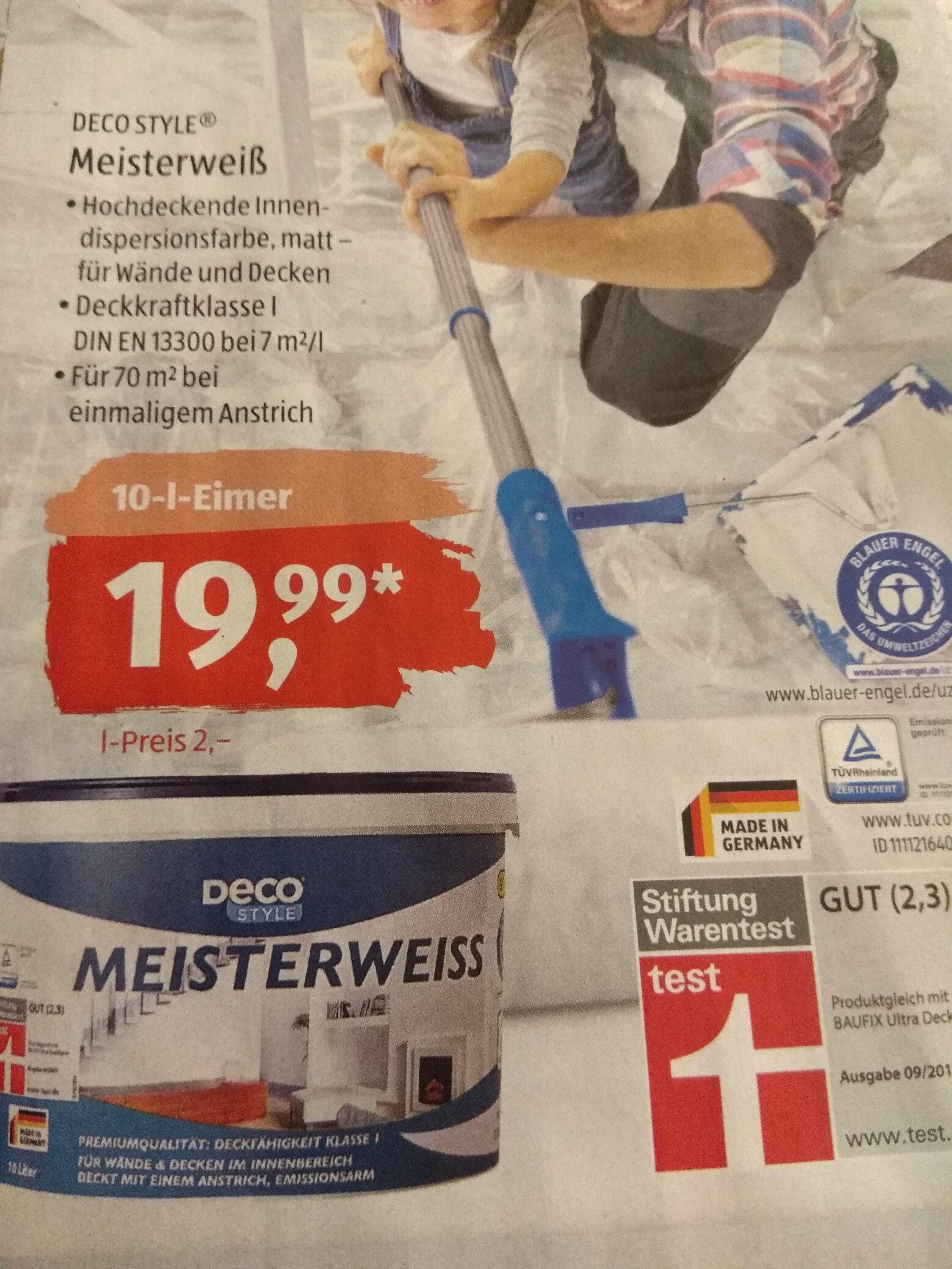 ALDI Süd Deco Style Meisterweiss Farbe 10L für 19,99€ ab 07.01