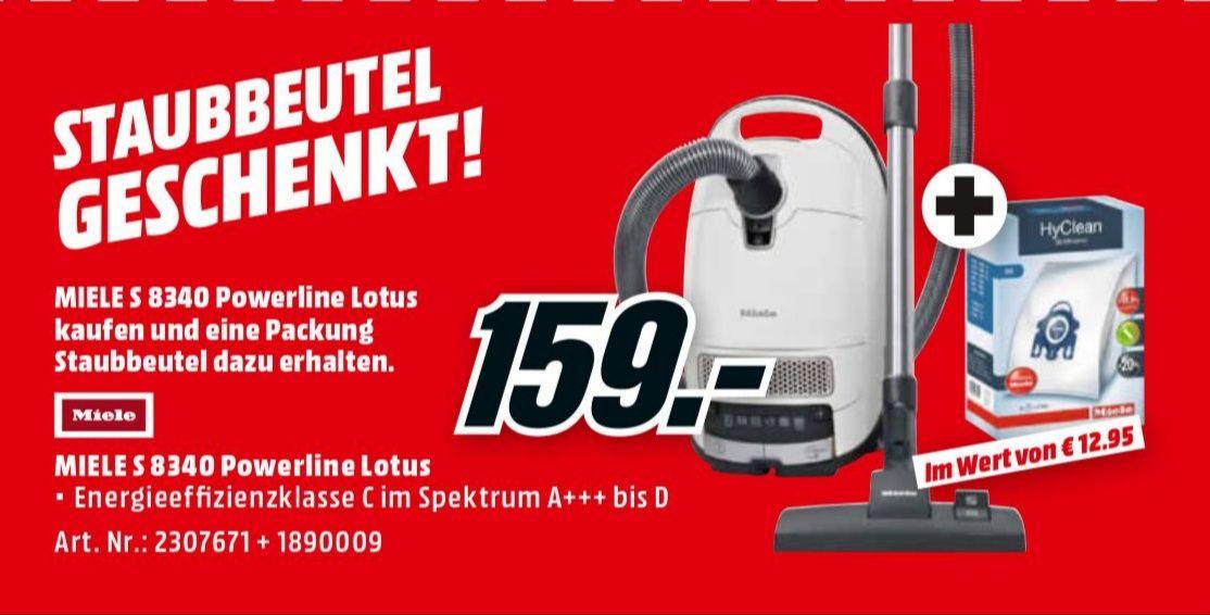 Media Markt - Miele S 8340 PowerLine Staubsauger, 4.5 L, 890 W + Staubbeutel HyClean 3D - 01.01 bis 15.01.2019