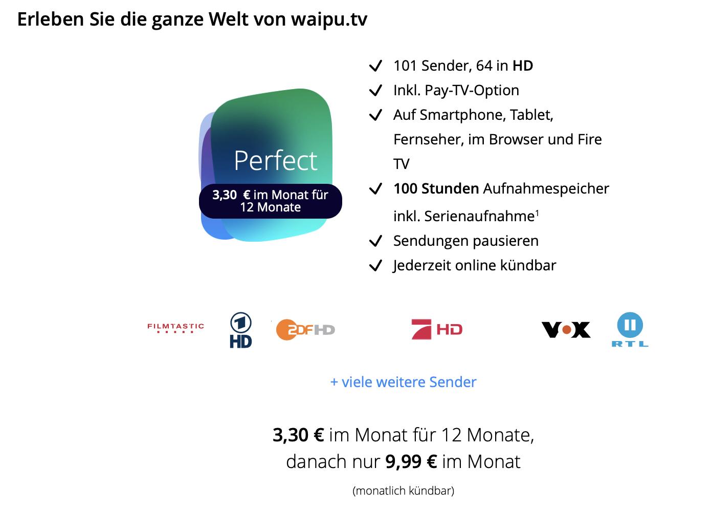 67% Rabatt auf das Waipu Perfect für bis zu 12 Monate! (nur Neukunden)