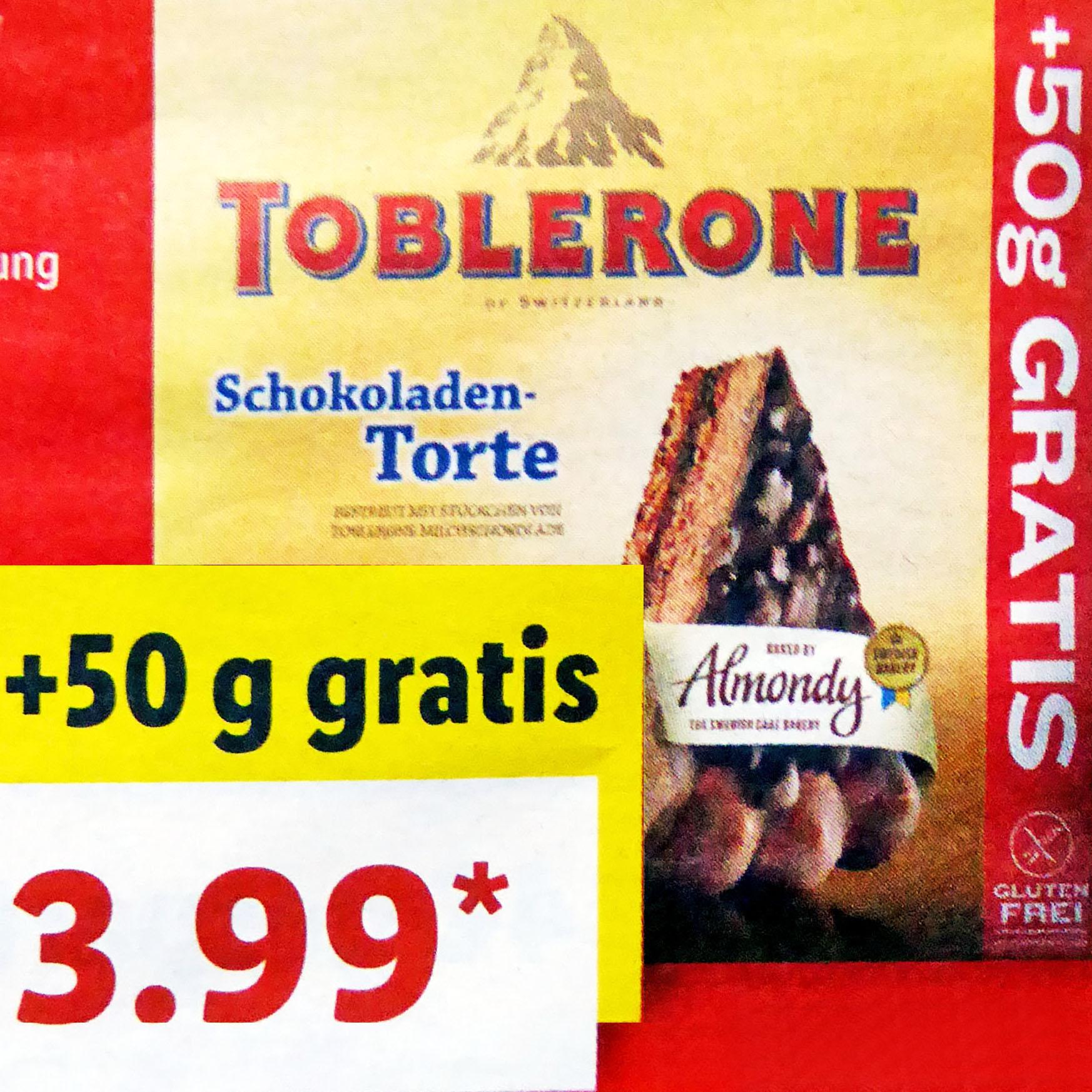 Mandeltorte mit Toblerone oder Daim für nur 3,99€ bei (Lidl ab 7.1.)
