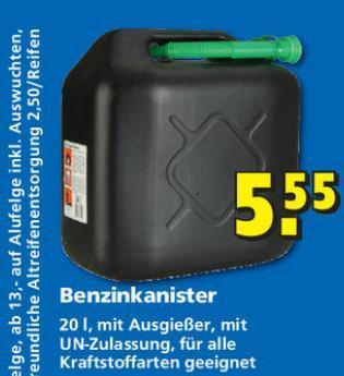 Benzinkanister 20L für 5,55 beim HELA Baumarkt