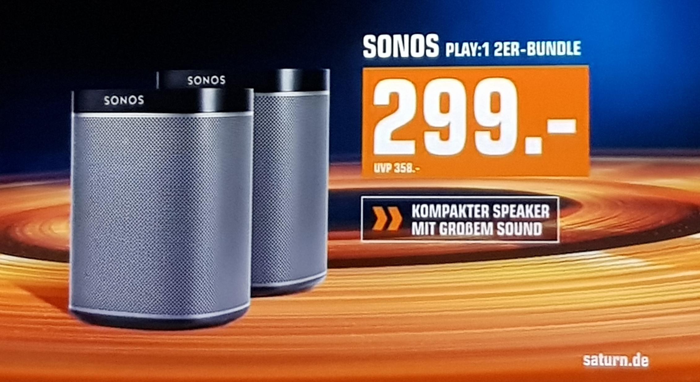 Sonos Play:1 2er Bundle bei Saturn Multiroom Speaker schwarz oder weiß - lokal teilweise noch zu bekommen