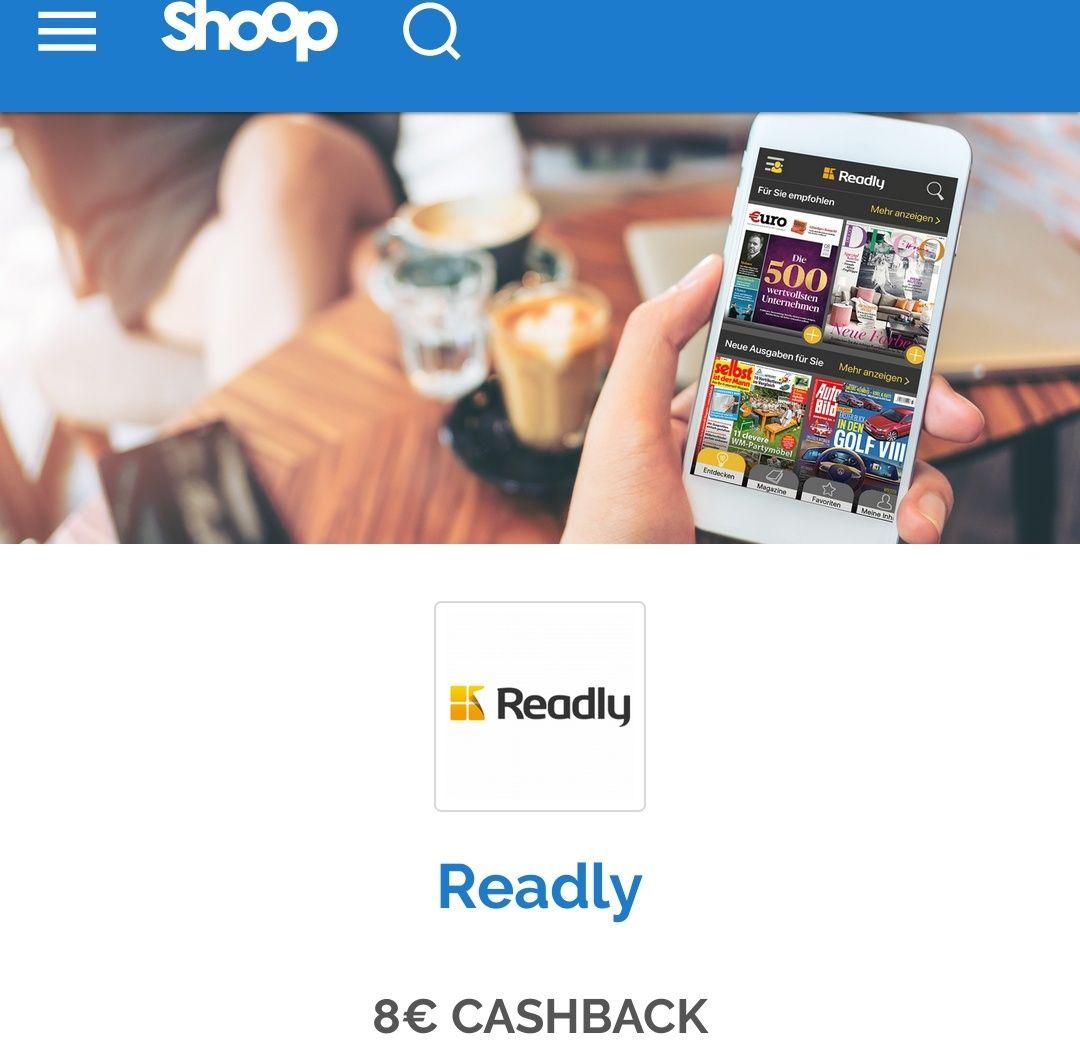 [shoop/Readly] Probemonat Readly für 0,99€ + 8€ shoop Cashback