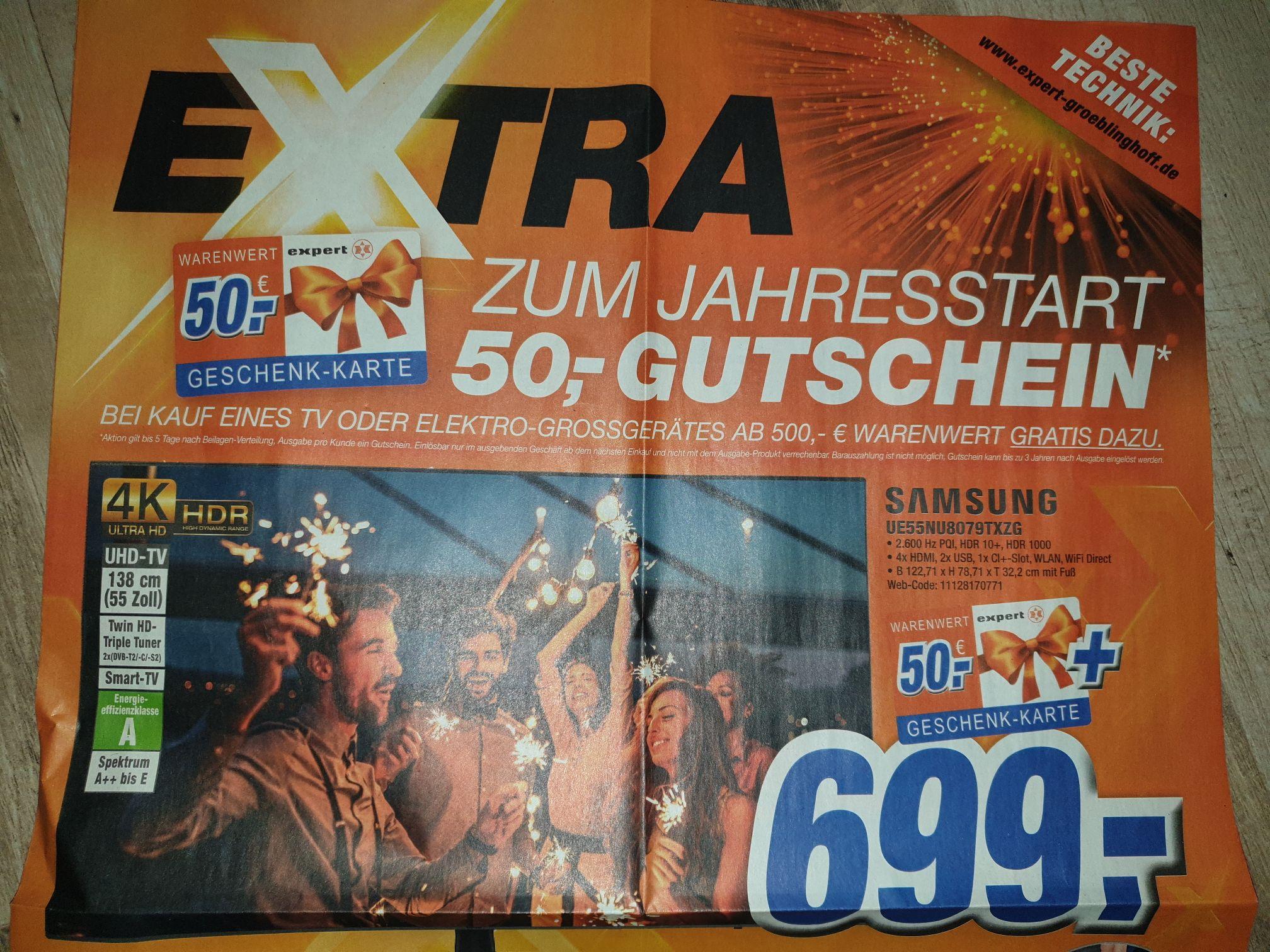 (Expert Gröblinghoff) Samsung UE55NU8079 (100 hz Panel) für 699 Euro PLUS 50 Euro Expert-Gutschein