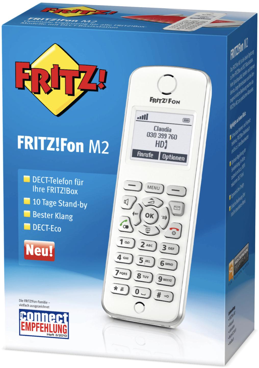 AVM FRITZ!Fon M2 für FRITZ!Box Telefon VoIP Babyphone Freisprechen Beleuchtetes Display Weiß, Silber für 35,44€ inkl. Versandkosten