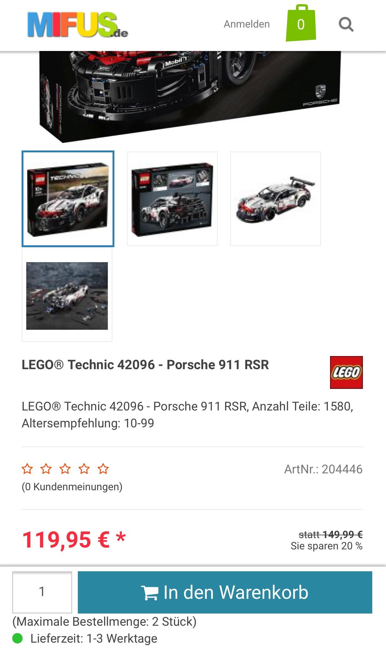 Lego Technic Porsche 42096 für 119,95 + VSK