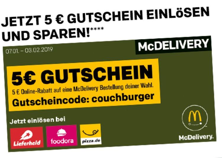 ab 07.01: 5€ McDonalds McDelivery Gutschein (12€ MBW)