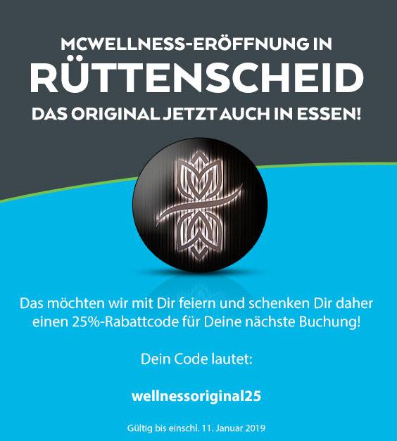 25% Rabatt auf Buchungen bei McWellness in Bochum, Dortmund, Essen & Köln