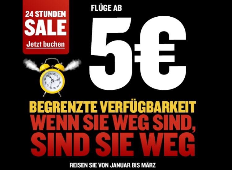 Ryanair 24 Stunden Sale - Flüge ab 5 Euro Oneway