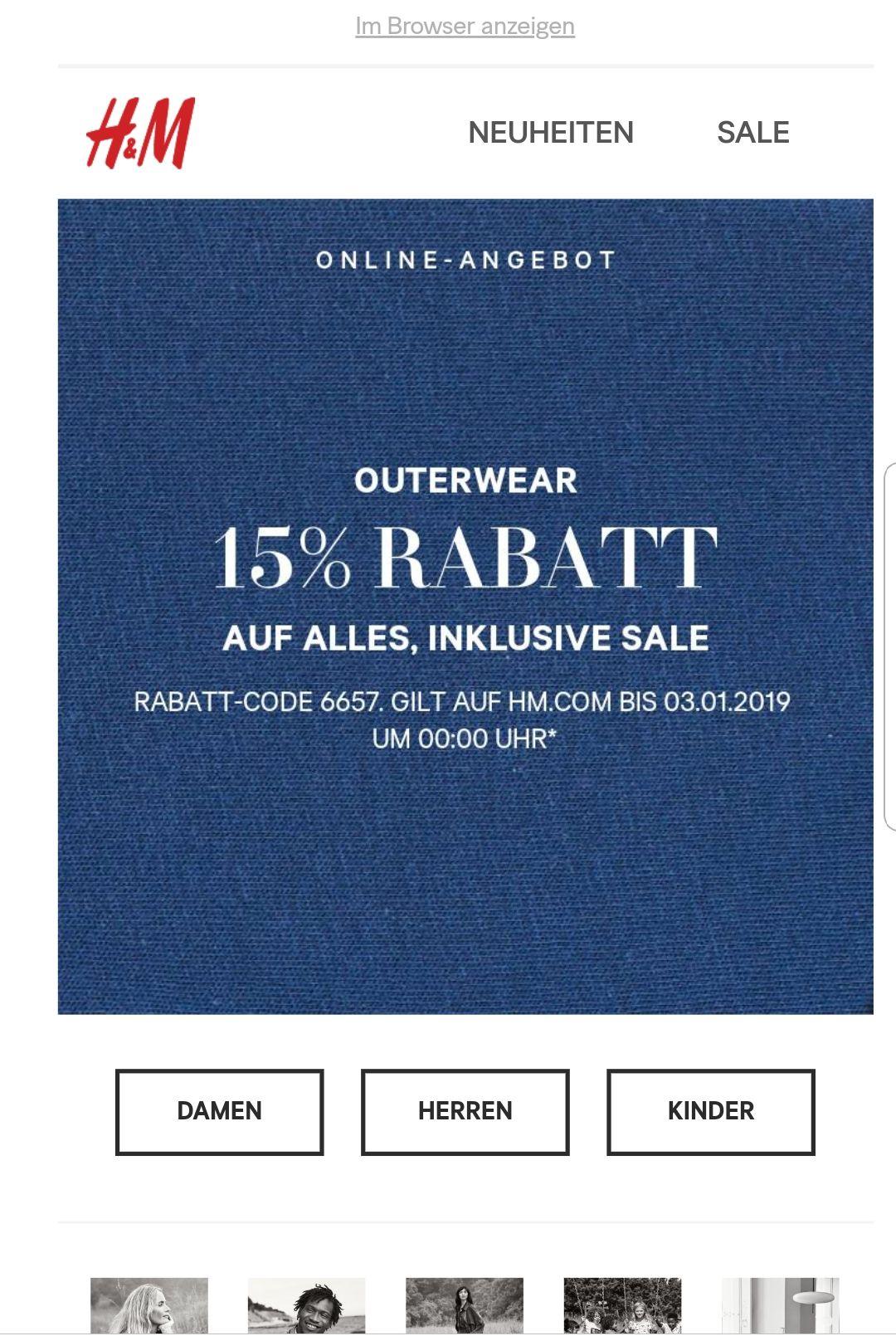 Bis 0 Uhr: 15 Prozent auf Outerwear bei H&M inklusive Sale