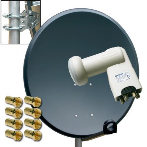 x09 Digitale HD SAT Anlage mit QUAD LNB 80cm Schüssel 4 Teilnehmer Spiegel Antenne
