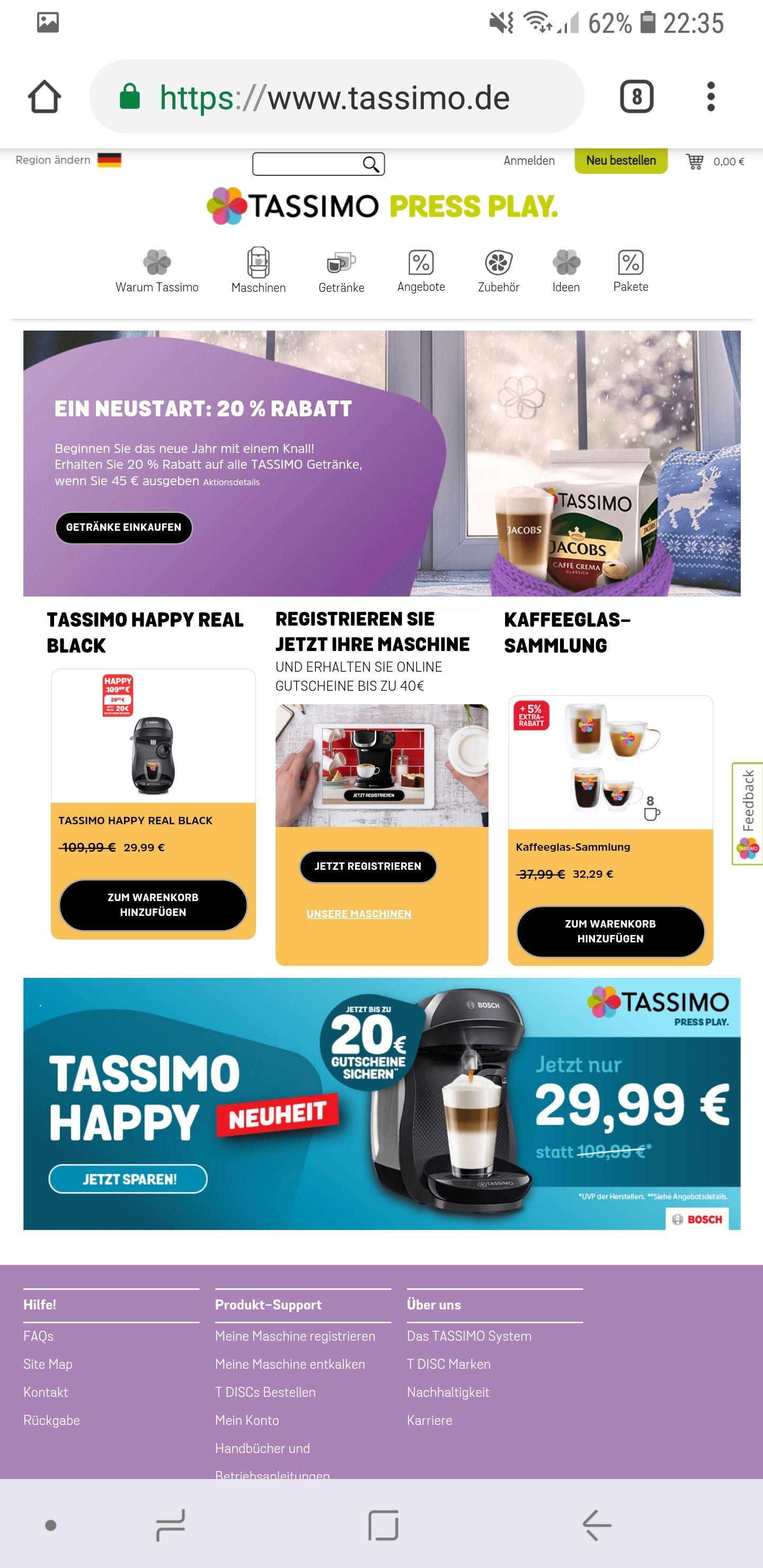 Tassimo ø1.90€ bis ø2,15€/Pkg. Online 20% Rabatt bei 45€  MBW und kostenlosen Versand MBW 45€
