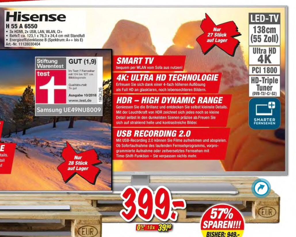 Lokal Deizisau. Hisense H55 A 6550, 55 Zoll 4K TV.