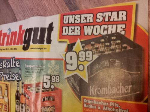 Krombacher 20er 0,5l für 9,99€ bei trinkgut