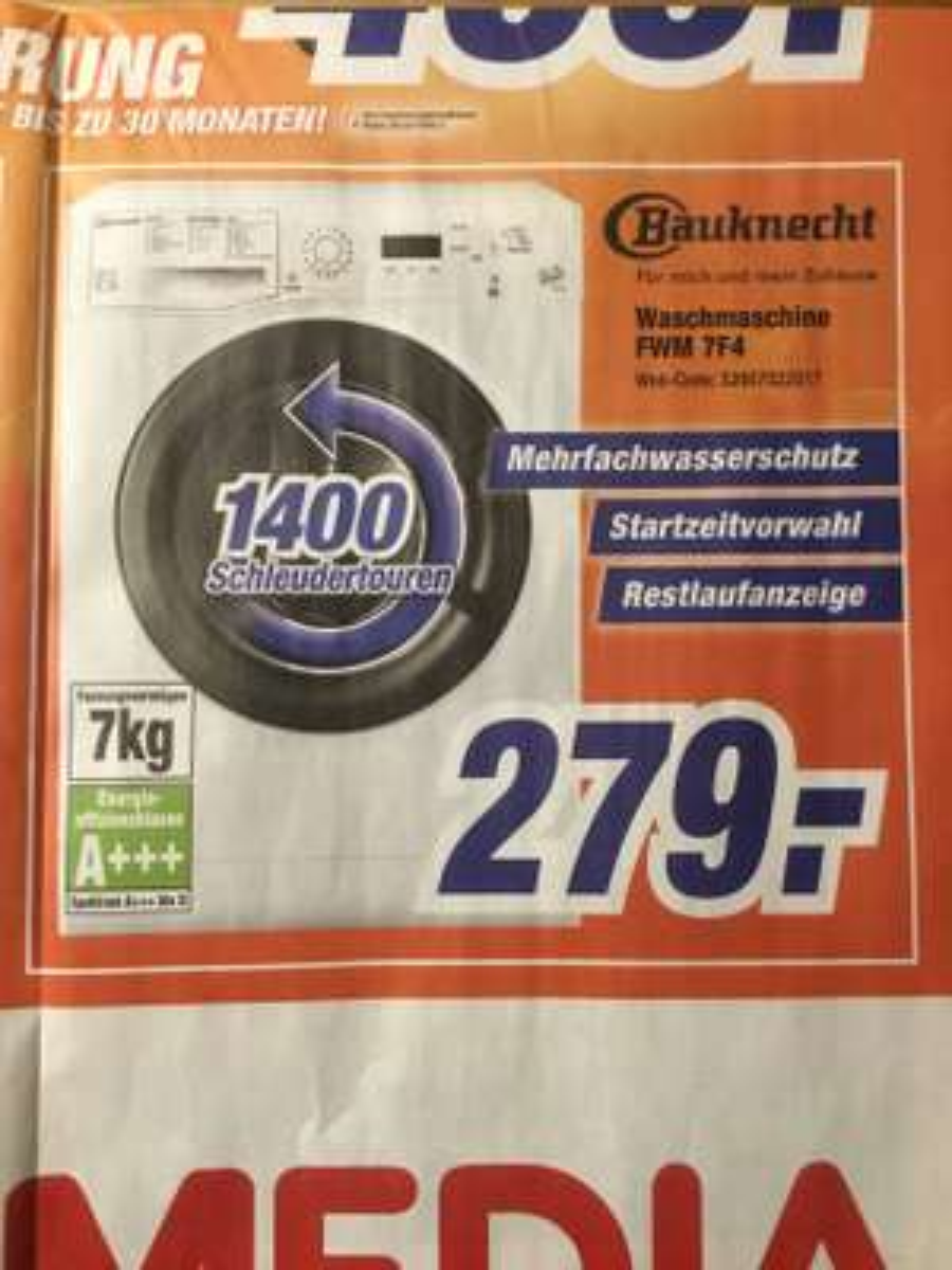 Bauknecht Waschmaschine FWM 7F4 [online & lokal Expert Octomedia Rastatt, Bühl, Lahr, Waldshut-Tiengen]