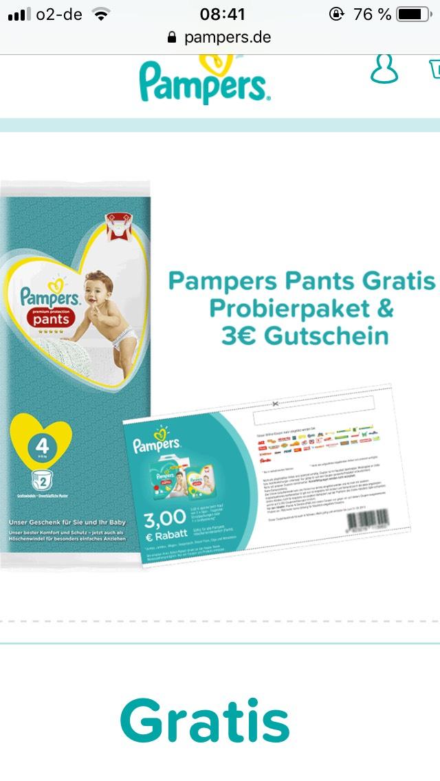 Pampers Pants Probierpaket + 3€ Gutschein