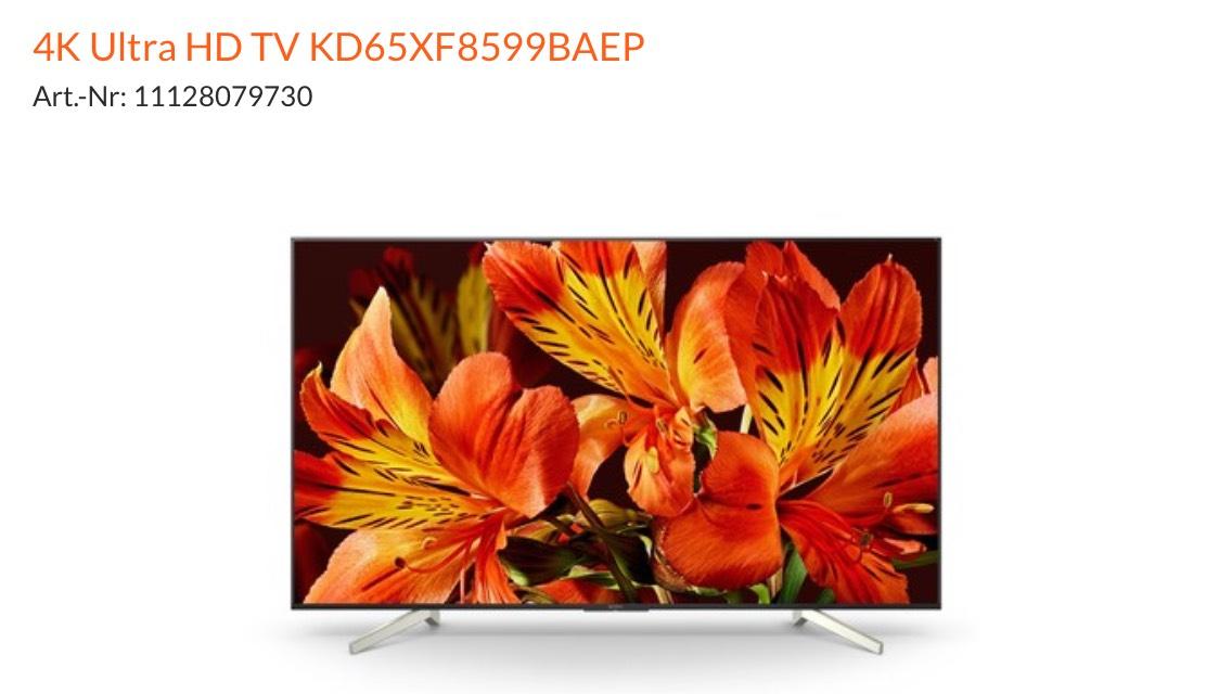 """65"""" UHD/4K Sony KD65XF8599 120Hz Nativ - Expert Versch. Märkte"""