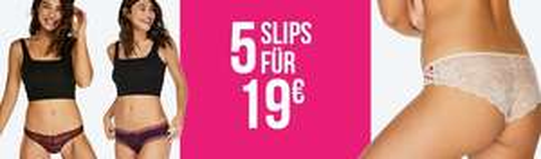 [Hunkemöller] 5 Slips für 19€ d.h. 3.80€ p.Slip