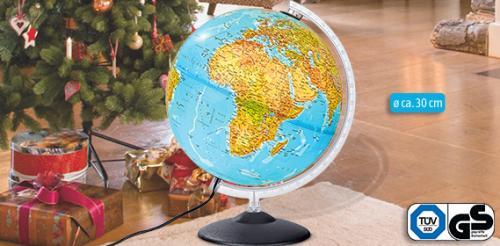 Aldi-Süd: Beleuchteter Globus 30cm