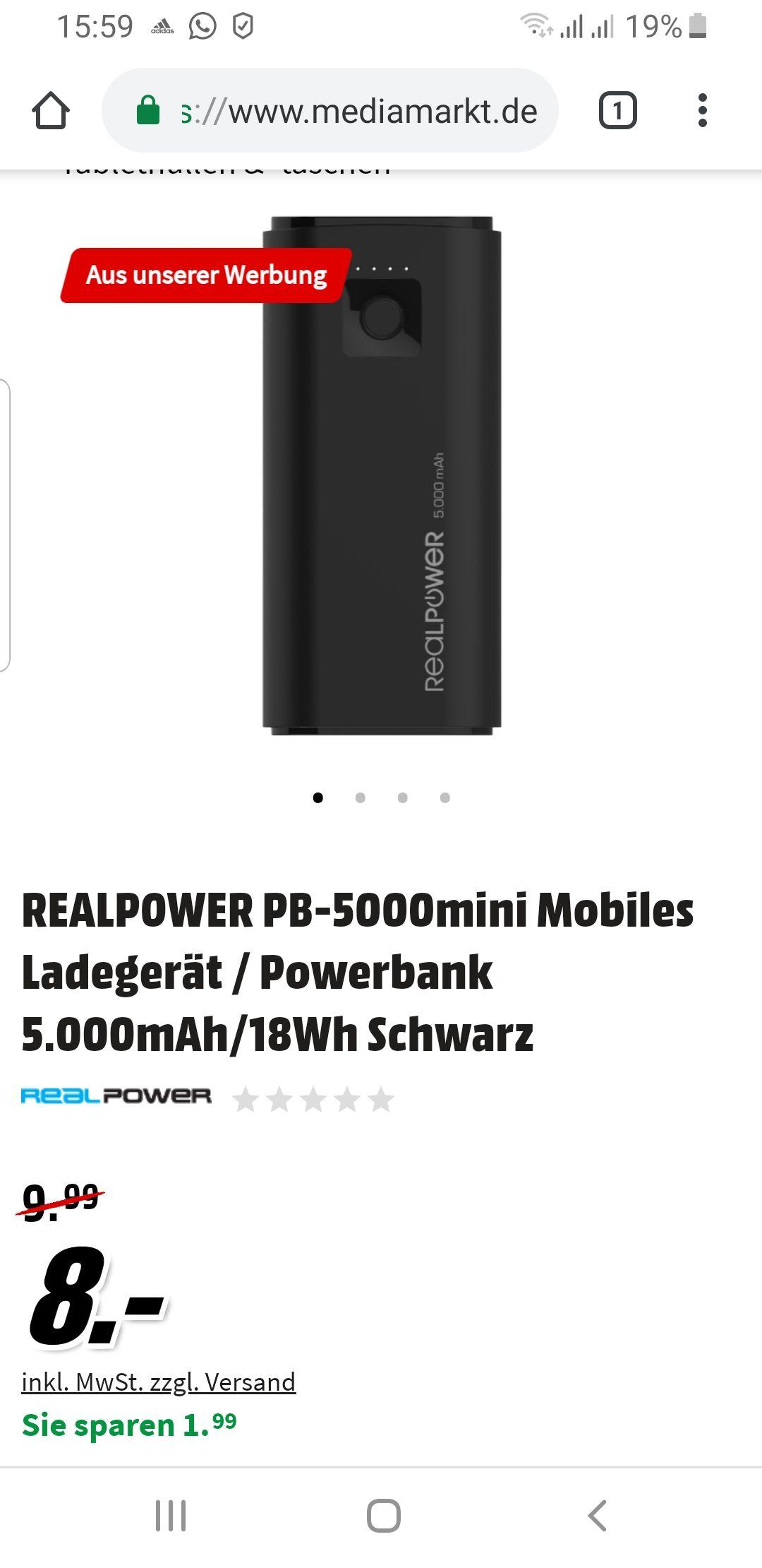 [Media Markt online]REALPOWER PB-5000mini Mobiles Ladegerät / Powerbank 5.000mAh/18Wh Schwarz