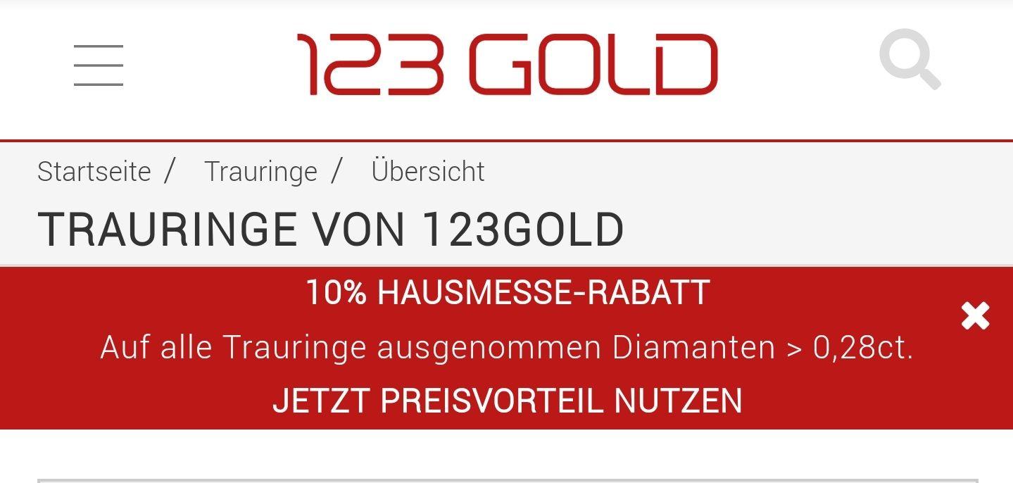10% auf alle Trauringe, Eheringe bzw. Ringe bei 123gold