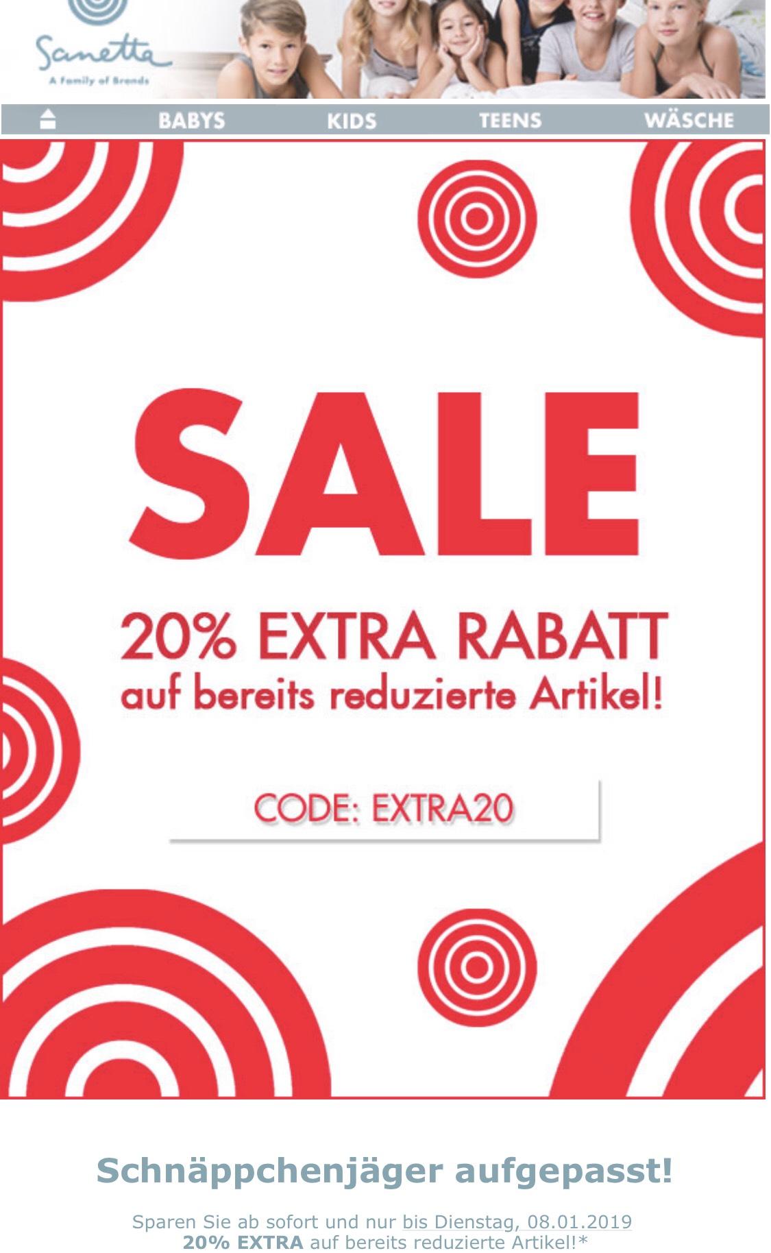 Sanetta Kinder und Babykleidung Jetzt 20% Extra Rabatt auf alle reduzierten Artikel + 7% Shoop