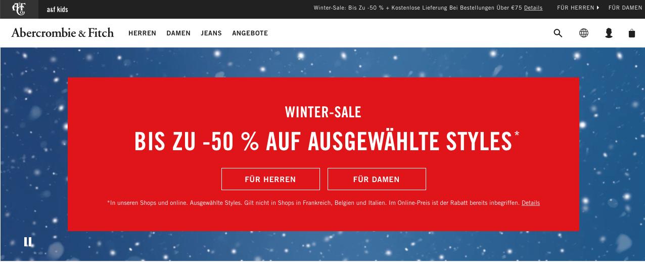 Abercrombie & Fitch Wintersale bis zu 50%