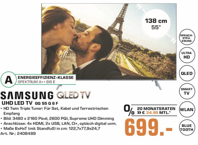 "[Lokal: Saturn Duisburg] Samsung GQ55Q6FNGT - 55"" QLED 4K UHD Smart TV (VA, Edge LED, 10bit, 120Hz, Quantum Dot, Tizen)"