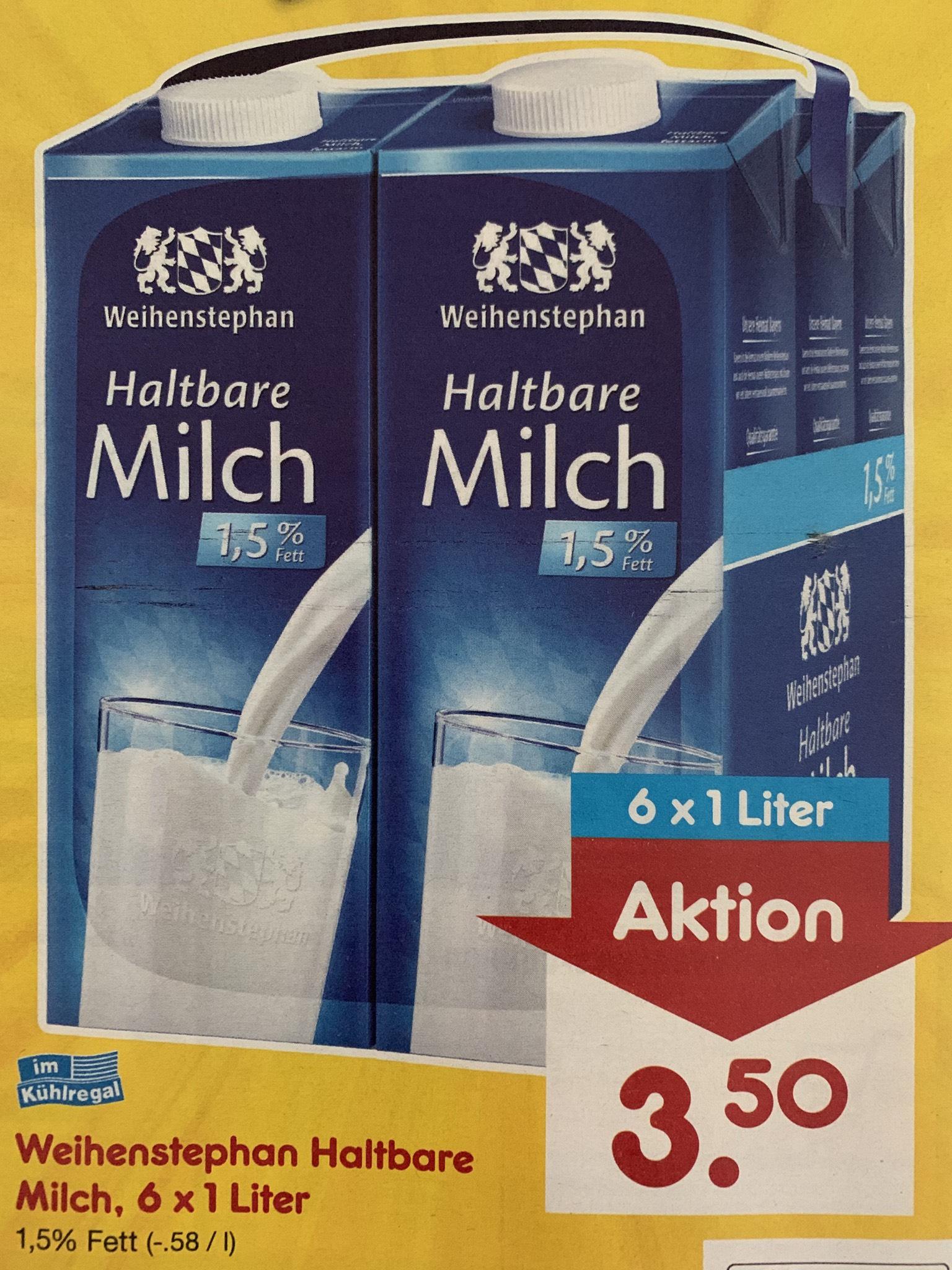 [NETTO] Weihenstephan Milch 1,5% Fett 6x1 Liter für 3,50 (Literpreis 0,58€)