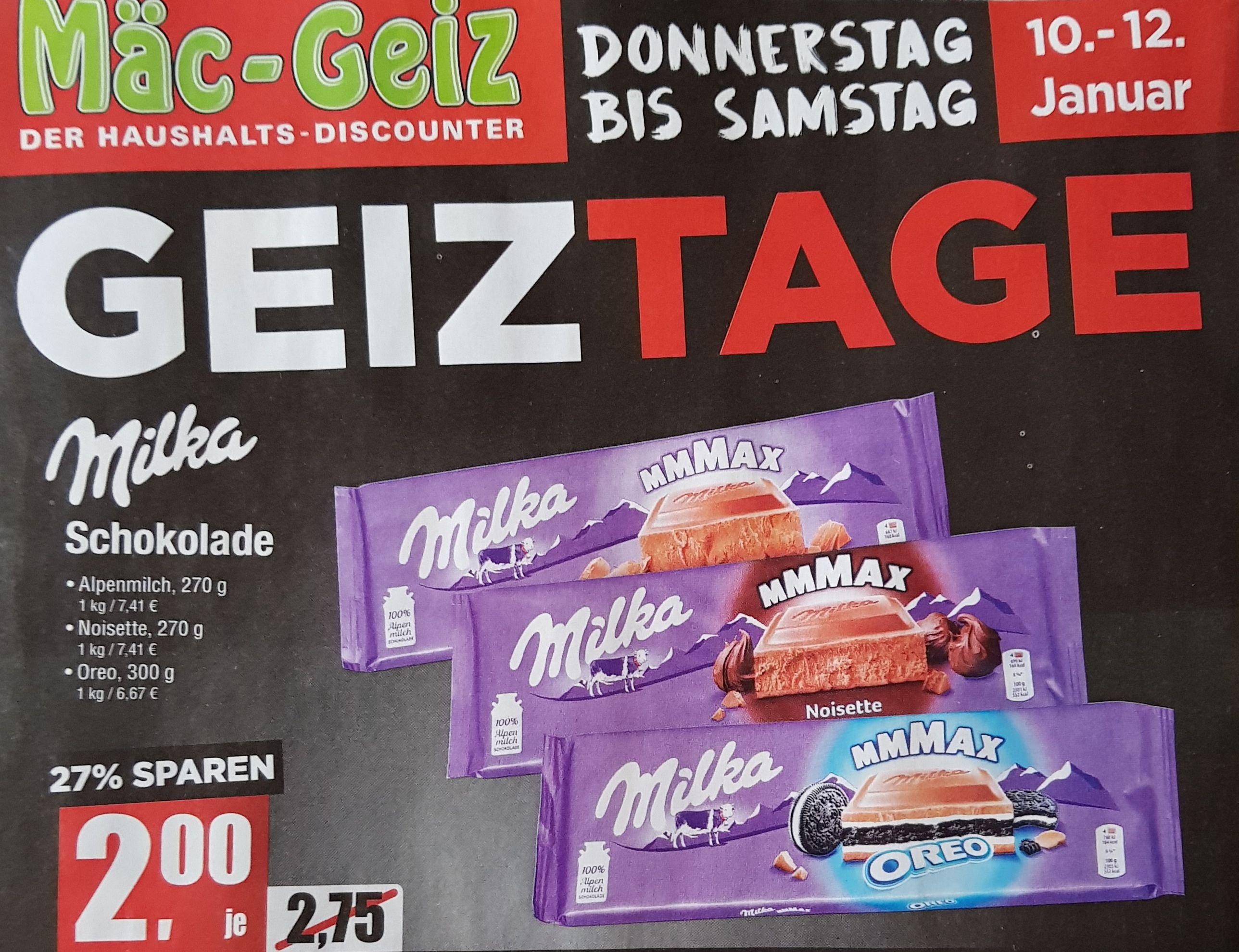 [Vorankündigung] Milka Schokolade 270 g (Alpenmilch, Noisette, Oreo) für 2,00 [Mäc-Geiz]