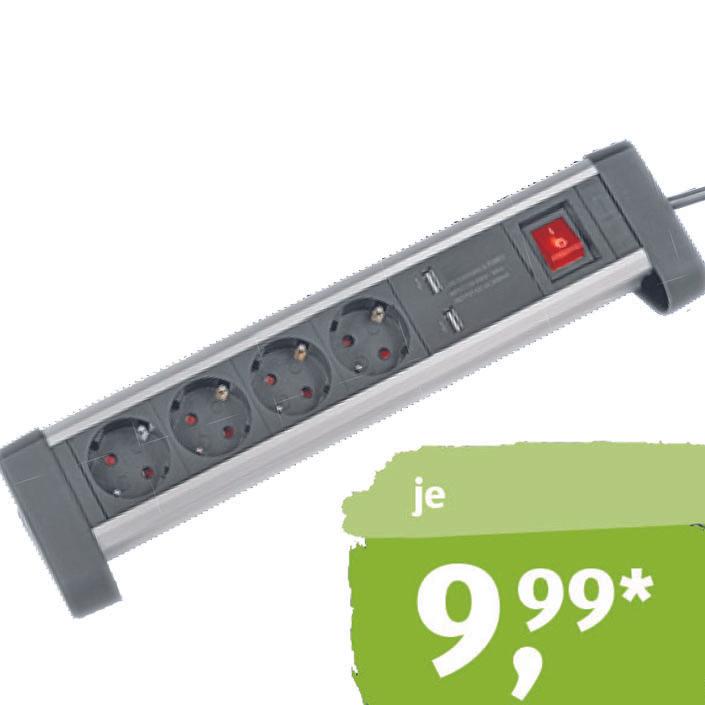Alu-Tischsteckdosenleiste mit 2 zusätzlichen USB-Ladebuchsen für nur 9,99€ bei (Aldi Süd)